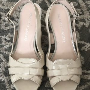 Franco sarto cream wedges with cork style heel